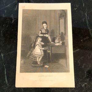 """Baby's Answer- 9"""" x 5.75"""" -Antique Engraving/Print"""
